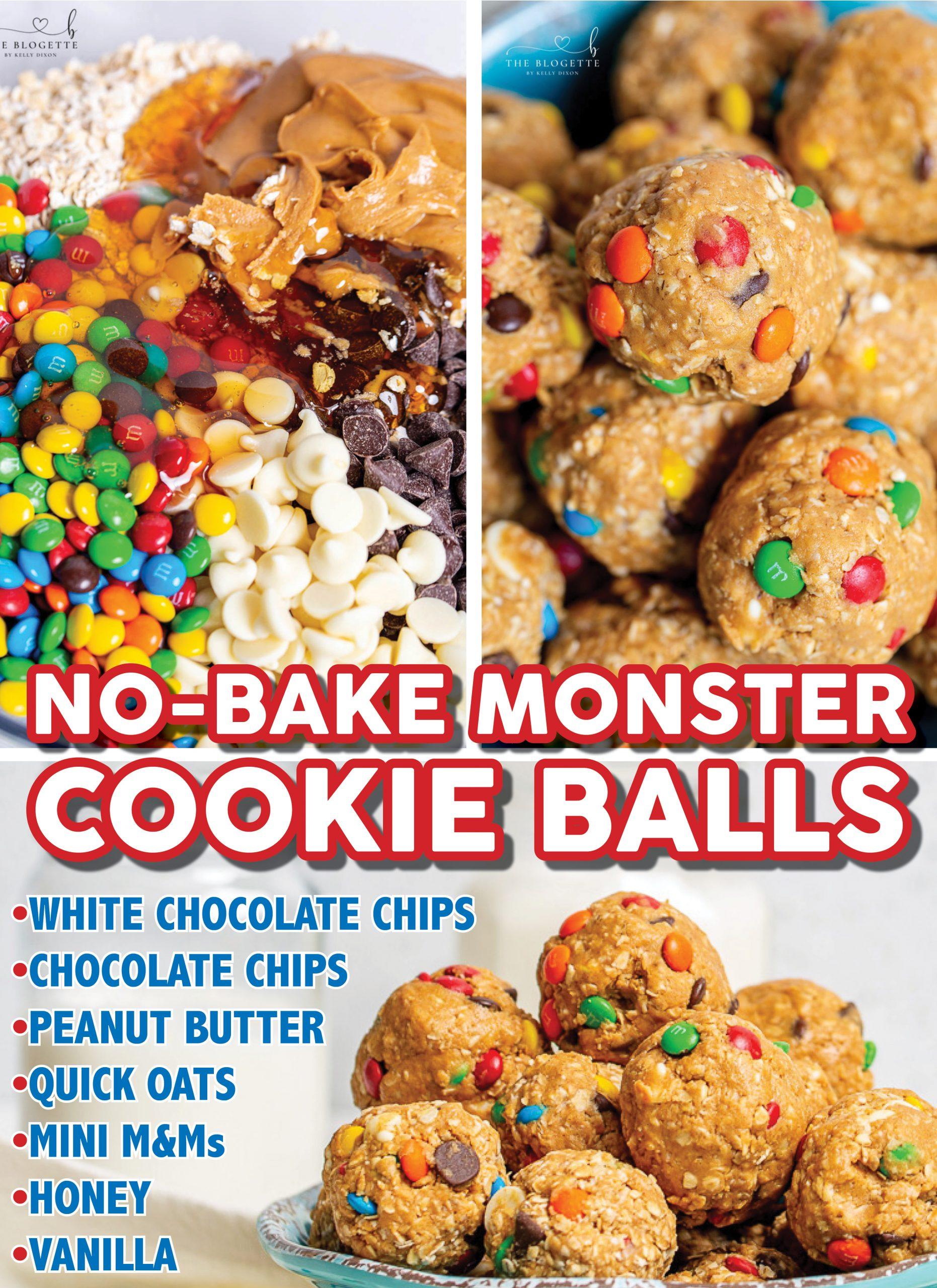 Não-assar Monster Cookie Balls é um deleite divertido e saboroso.  Esta receita clássica é a MELHOR!  Além de deliciosas, essas bolinhas monstruosas são super fáceis de fazer também!