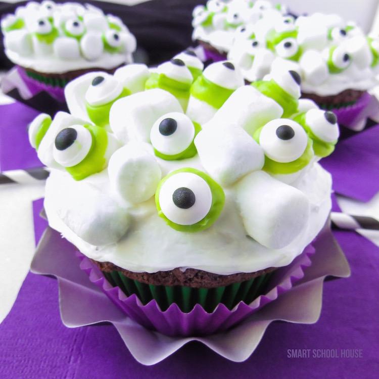 Monster Marshmallow Cupcake recipe for Halloween