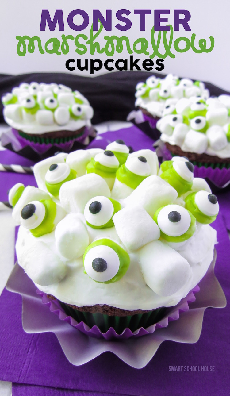 How to make Monster Marshmallow Cupcakes. A Halloween dessert recipe idea that kids love.