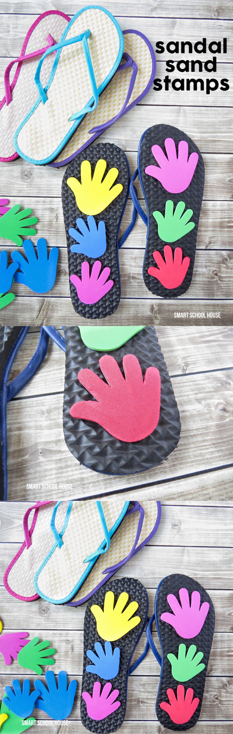 "DIY Sandal Sand Stamps. Walk around at the beach and leave ""high-fives"" all over the place!"