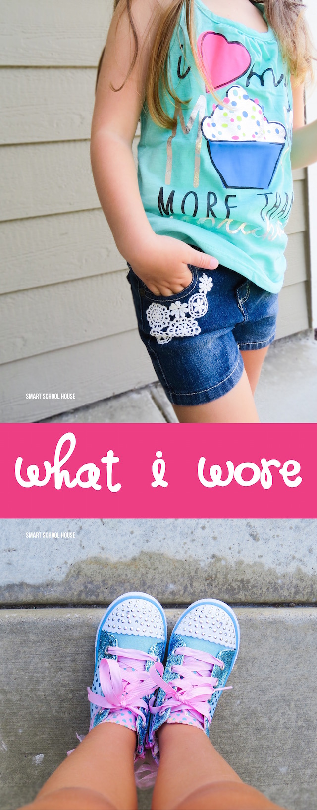 "What I Wore - ""I love my Mom more than cupcakes"" tank top and Sprinkle Toes lace up shoes."