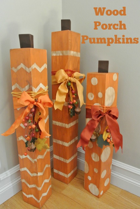 DIY Porch Pumpkins using 4x4's, Stencil-Masks & Washi tape. So cute and super easy. So cute and super easy.