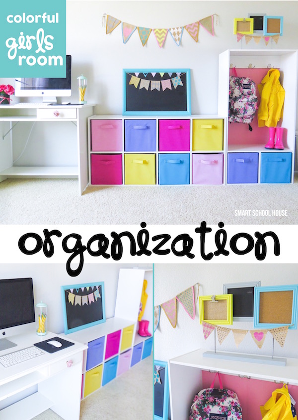 Girls Room Organization Ideas. Organize toys, school supplies, and even clothing in a pretty and colorful way.