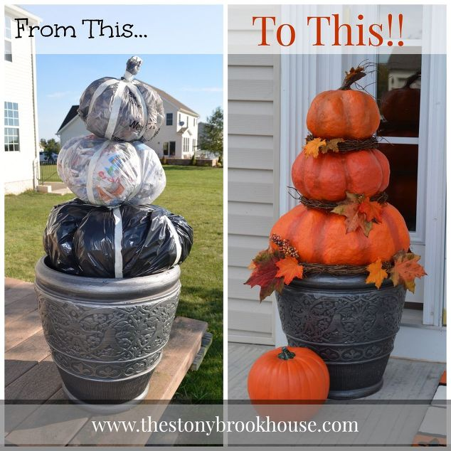 How to make a beautiful DIY pumpkin topiary with a garbage bag, newspaper and masking tape. I love the leaves she added in too. So talented!