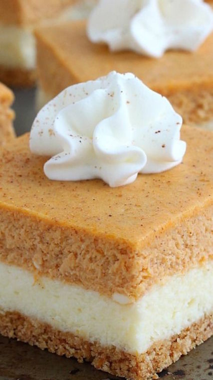 Pumpkin Cheesecake Bars. So easy to make and with the right amount of ...