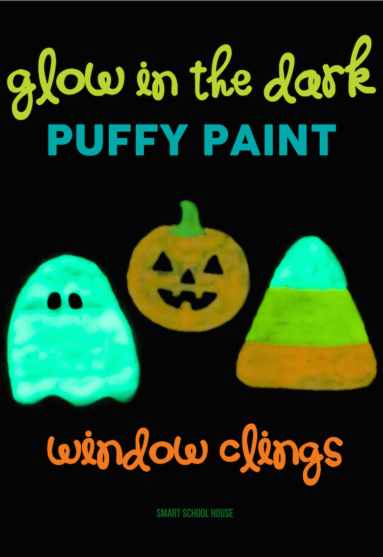 DIY Glow in the Dark Halloween Window Clings made with Puffy Paint