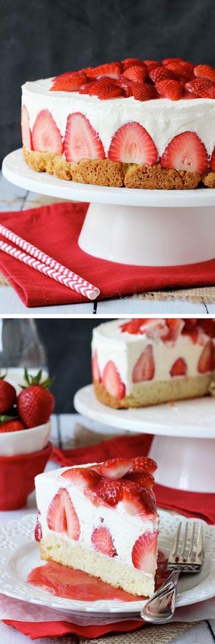 Strawberry Shortcake Cheesecake!- Shortcake topped with strawberries. No bake vanilla cheesecake and whipped cream!