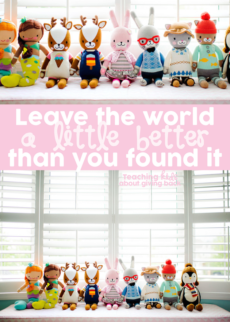 Leave the world a little better than you found it. Teaching kids about giving back with cuddle + kind dolls. Handmade, one of a kind, feeding hungry children around the world #cuddleandkind