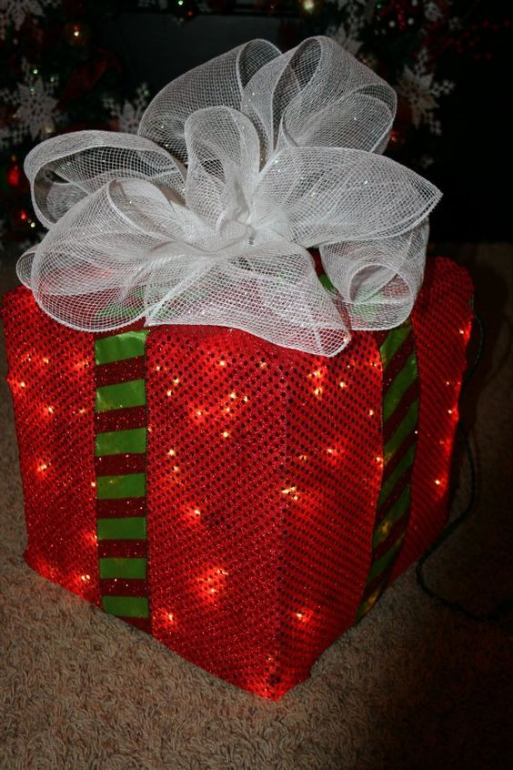 How to Make a Lighted Christmas Box Decoration.