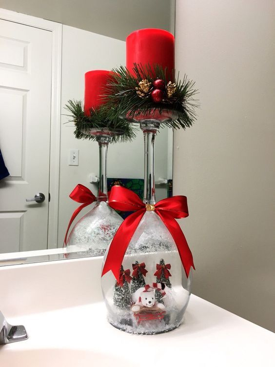 wine glass snow globe with candle - Christmas Decoration Ideas To Make