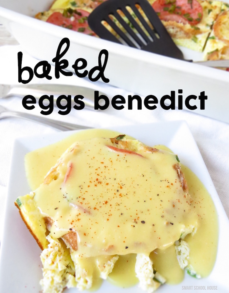 How to make Baked Eggs Benedict for breakfast - The EASIEST way to make eggs benedict ever! A no fuss, no fail recipe that is ready in minutes. Everybody LOVED this!!!