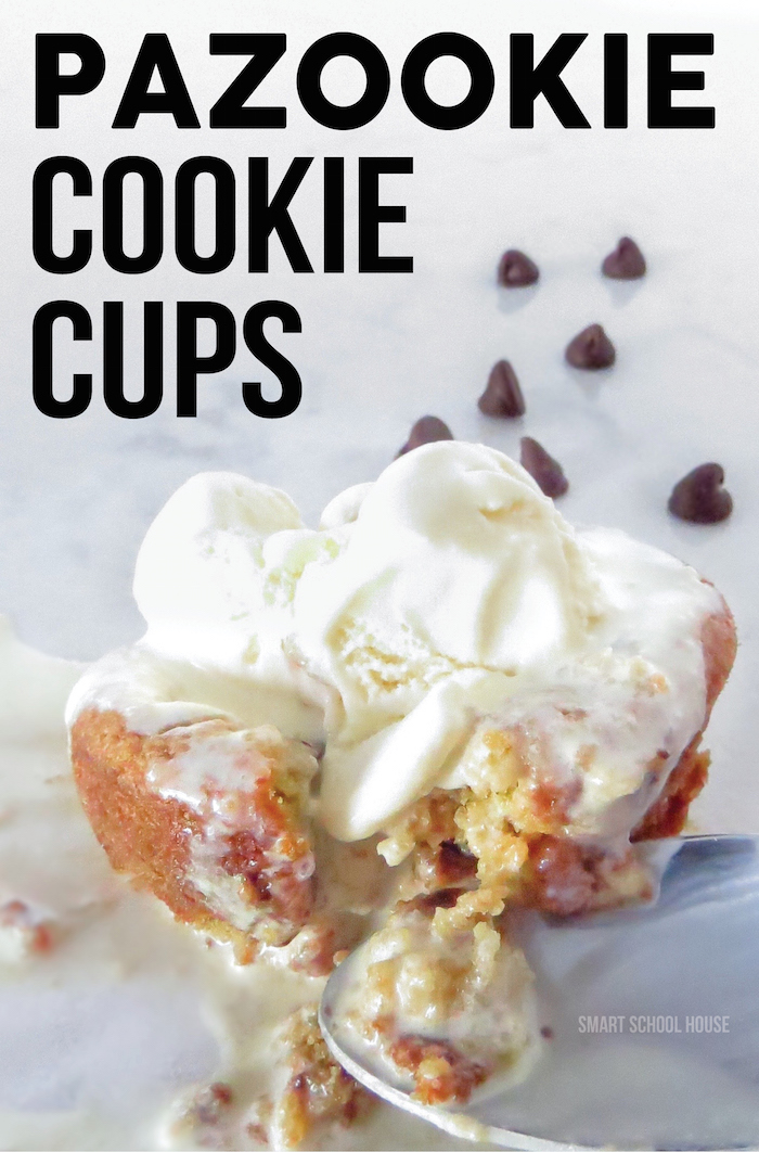 Pazookie Cookie Cups! Warm homemade chocolate chip cookie cups topped with ice cream. Pazookie cups are served straight out of the oven. It's the law!