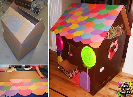 This is pretty much a little kid's DREAM at Christmas! A gingerbread house they can actually go inside of! With cardboard and paper, look how they create the look of a candy house ..... WOW!