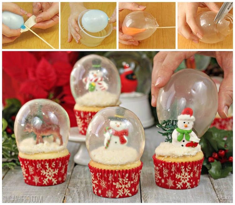 Edible Snow Globe Cupcakes used with gelatin to make the globes!