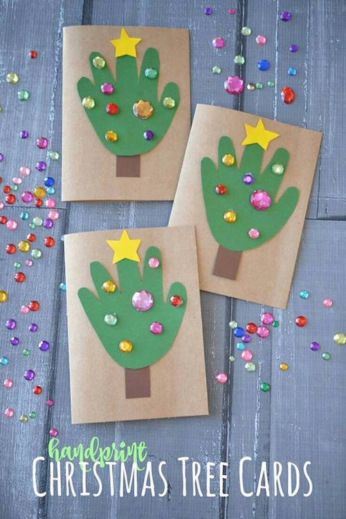 Handprint Christmas Tree Cards These are so cute!