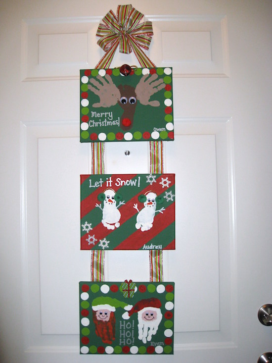 Hand and Footprint Canvas Hanging Art for Christmas