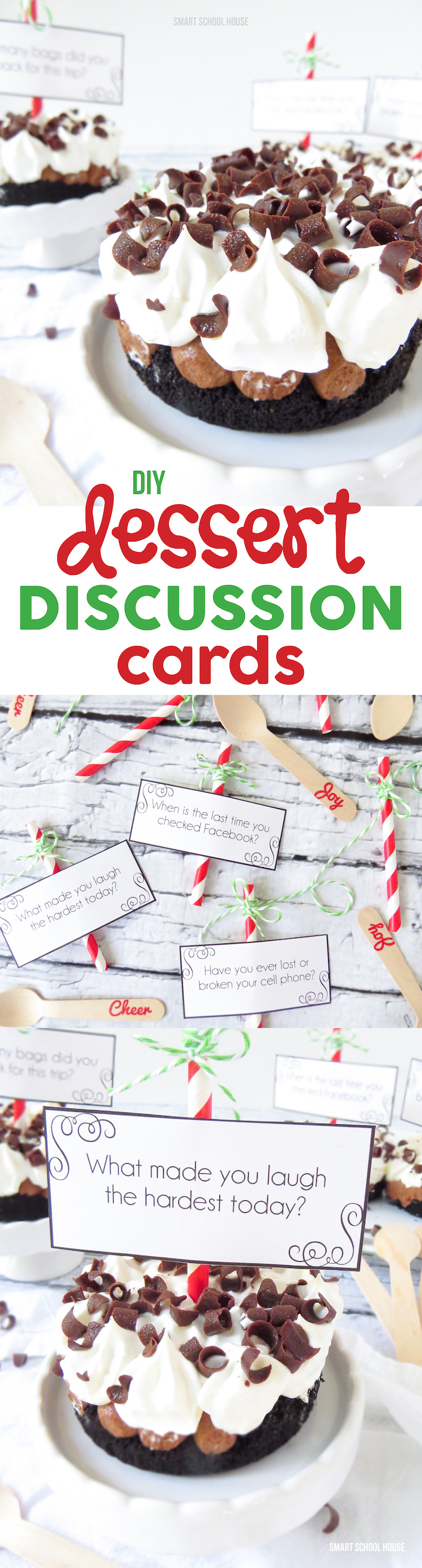 Dessert Discussion Cards - free printables! Print out these fun Dessert Discussion Cards to keep the smiles and the fun energy going even after dinner is gobbled up.