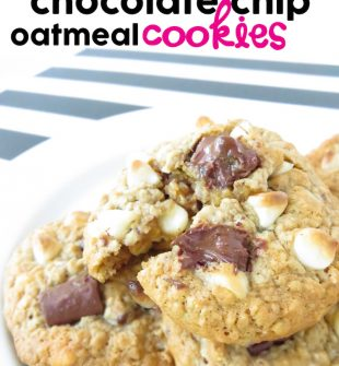 Double Chocolate Chip Oatmeal Cookies - the very best warm, gooey, homemade chocolate chip oatmeal cookies in the history of...ever!