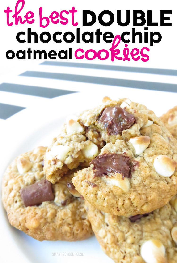 Double Chocolate Chip Oatmeal Cookies - the very best warm & soft homemade chocolate chip oatmeal cookie recipe in the history of...ever!