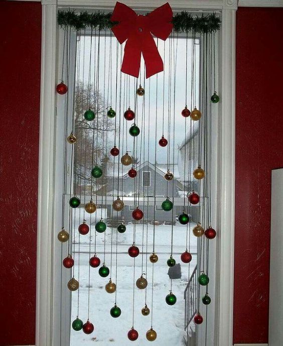 Hanging ornaments from a window