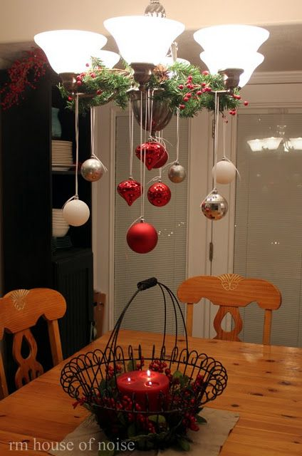 Hanging ornaments from the chandelier