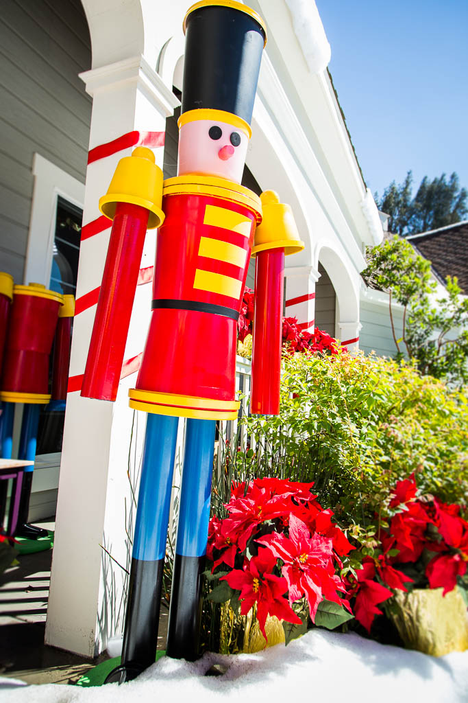 life sized nutcracker soldier made from buckets pvc pipe flower pots etc