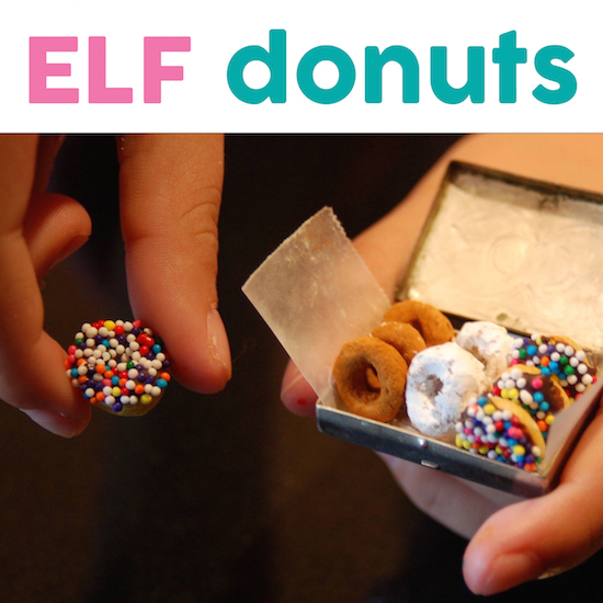 Elf Donuts! Actually, They are Cheerios to leave with Santa's Cookies!