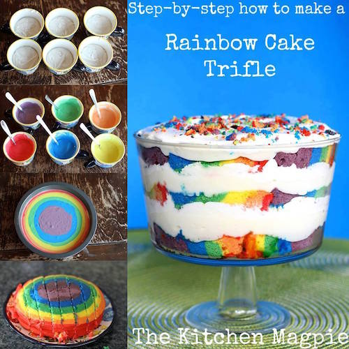 Rainbow Cake Trifle - this is so pretty! Click the picture to see how to make it.