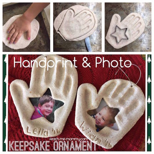 Handprint and Photo Ornament. This would make a great family gift!