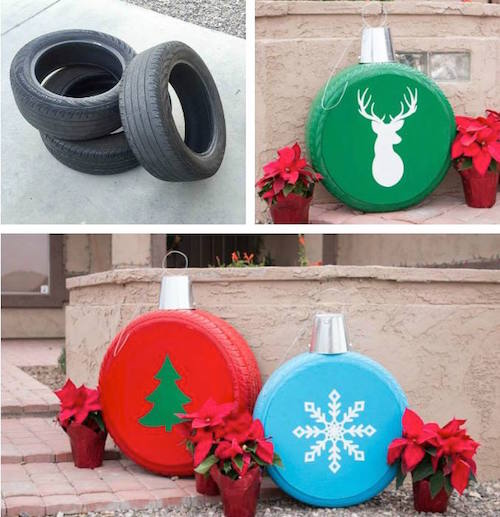 Turn old tires into Christmas ornaments! This is so creative! Click the picture for directions.