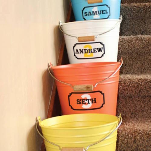 "We all know how much junk collects at the bottom of the stairs. Use cute ""Crap Buckets"" to organize that crap (pardon my language.... but it's TURE!)"