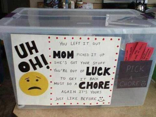Uh Oh Chore Box! You left it out, so pick a chore to get it back. What a great way to encourage (and remind) your kids how to take part in keeping the house tidy!