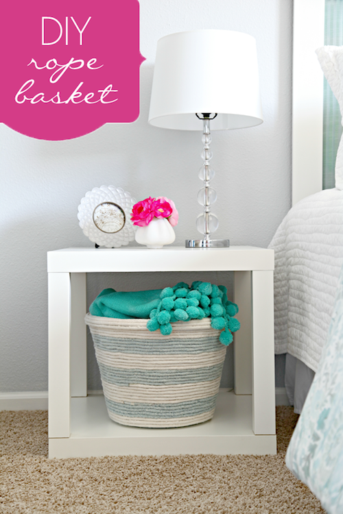 DIY Rope Basket - using a laundry bin from the dollar store!