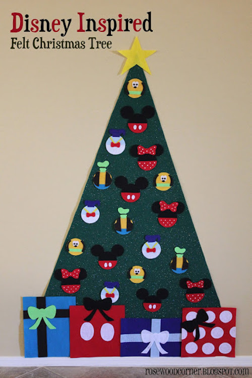 Make a felt Christmas tree with Disney ornaments for young kids! Well, I'd love to decorate this felt tree too (just sayin')