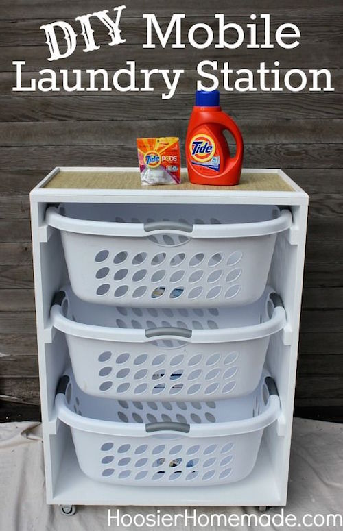 Make a mobile rolling laundry station. Those baskets can be heavy! Use this DIY tutorial to roll it all around and get things done faster!