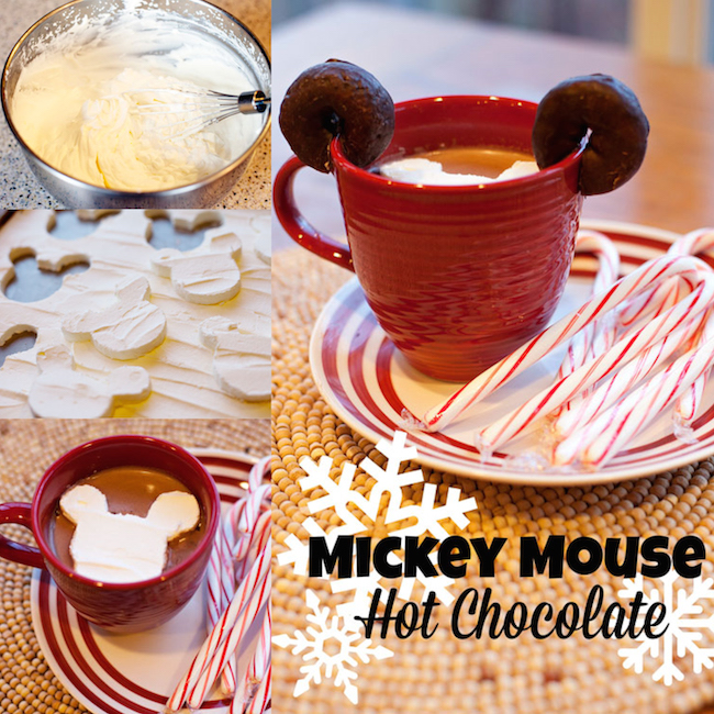 Mickey Mouse hot chocolate with homemade Mickey marshmallows! Perfect for a cozy Christmas morning. I love the tip for how they made the cookie cutter!