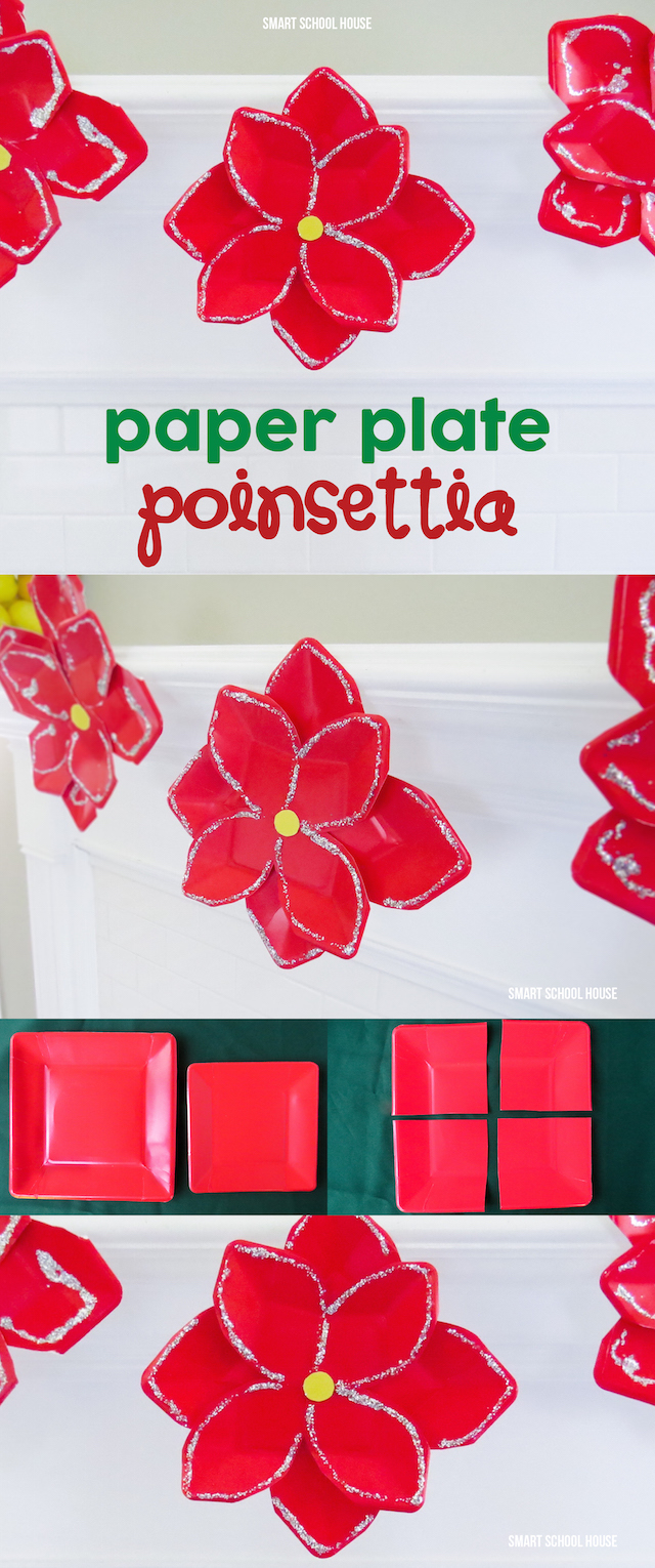 Paper Plate Poinsettia - an easy craft for kids to make this holiday with red paper plates. My kids LOVED making these and they look really pretty hanging as DIY holiday decor.