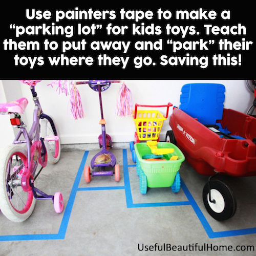 Make a parking lot for toys in the garage. So smart! A little painters tape is all you need.