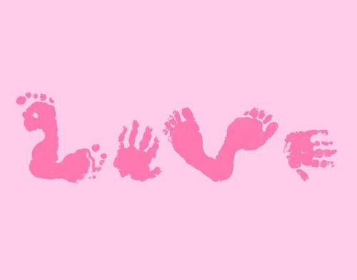 LOVE hand and footprint art idea. This would be such a great idea to do on light pink painted canvas!