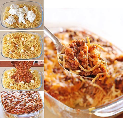 This is called Million Dollar Spaghetti - must try! It's got spaghetti sauce, beef and cream cheese mixture meal … that tastes like a million bucks.