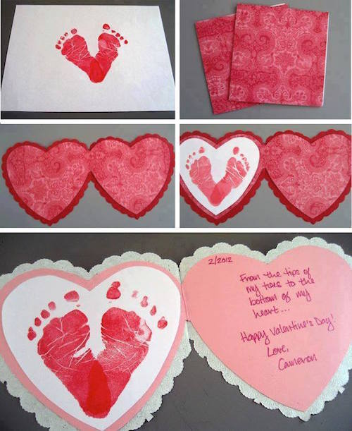 Footprint Valentine's Day Card