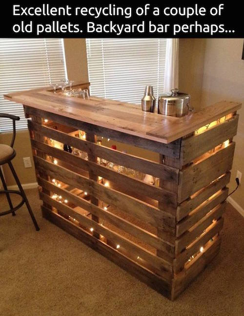 Use oak pallets to create a small bar space. I love how it is lit up!