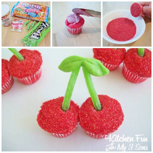 Use cupcakes to create cherries! How fun is that for a kid party?