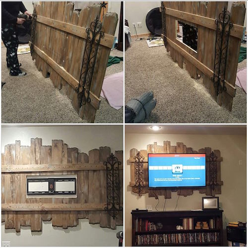 Wood pallet decorated TV mount. Just gorgeous!