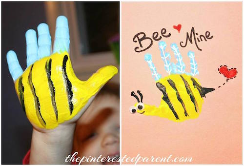 Bee Mine handprint Valentine's Day card idea - I just love this!