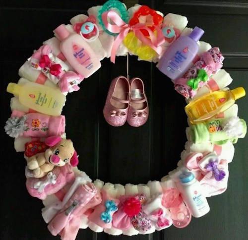 Baby shower wreath - great idea!
