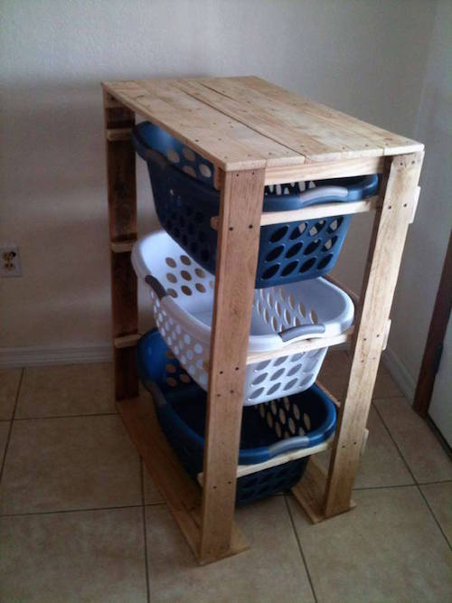 DIY pallet laundry storage area... This is such a neat idea!