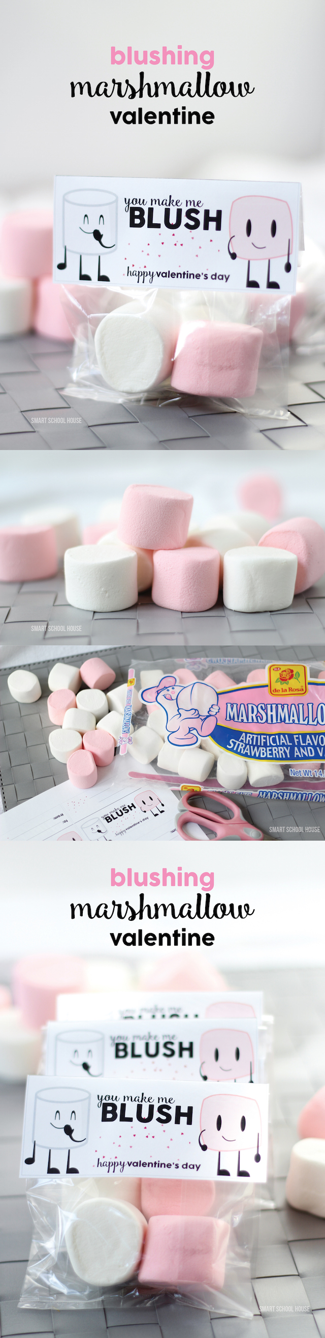 Blushing Marshmallow Valentine - an easy, inexpensive, and cute DIY Valentine idea!