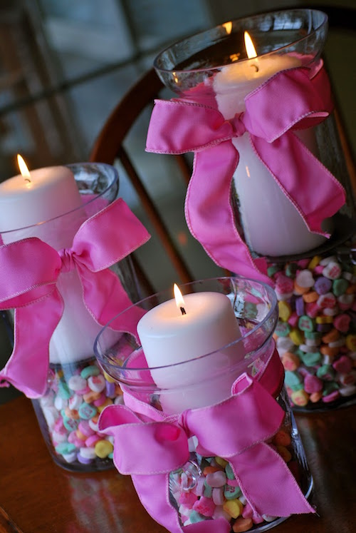 Create a fun Valentines Day centerpiece using conversation hearts!