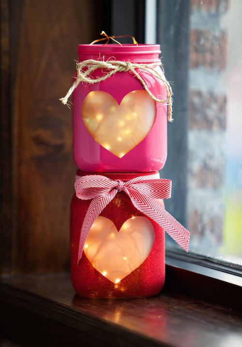 Make these pretty Valentine's Day Heart Jars! I love the twinkle lights inside!